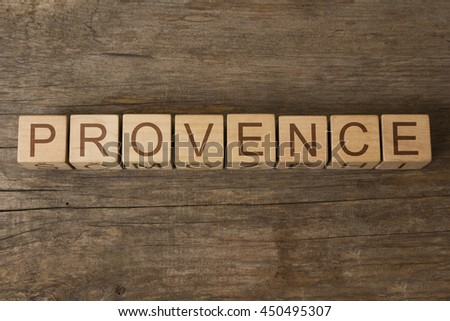 PROVENCE text on wooden cubes - stock photo