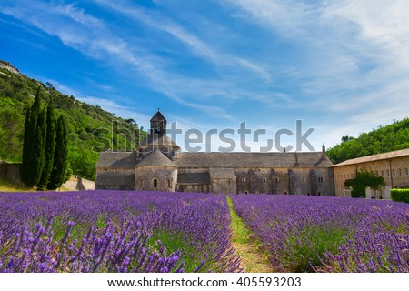 Provence valley with Abbey Senanque and blooming  Lavender field, France - stock photo