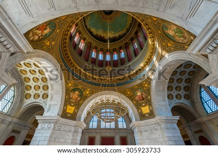 PROVIDENCE, RHODE ISLAND - JULY 24: Inner dome from the rotunda of the Rhode Island State House on Smith Street on July 24, 2015 in Providence, Rhode Island  - stock photo