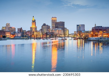 Providence, Rhode Island, USA city skyline on the Providence River at twilight. - stock photo