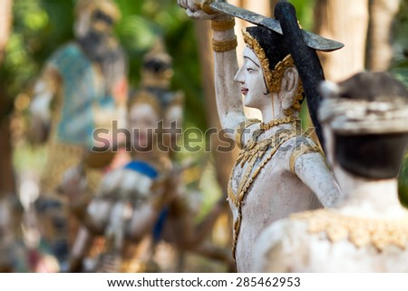 PROVINCE CHIANG MAI, THAILAND - FEBRUARY 11: Sculptures of gods and mythical creatures in temple Nantharam in province Chiang Mai, Thailand, February 11, 2014.  - stock photo