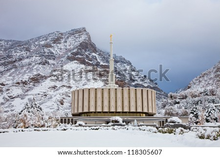 Provo Temple in the Winter - stock photo