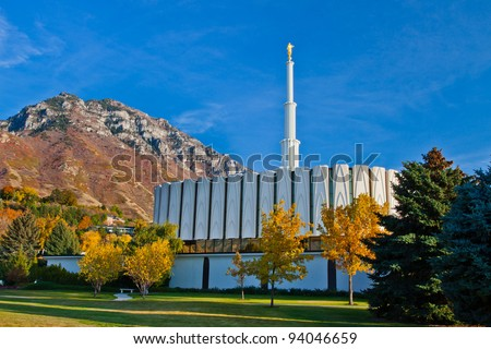 Provo Utah Temple in the Fall - stock photo