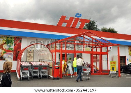 PRUM, GERMANY - AUGUST 4: Entry of a HIT Supermarket. HIT Handelsgruppe owned Hit Supermarket chain mainly located in Rhineland-Palatinate state of Germany. Taken on August 4, 2010 in Prum, Germany - stock photo