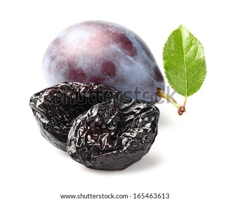 Prune and plum with leaf - stock photo