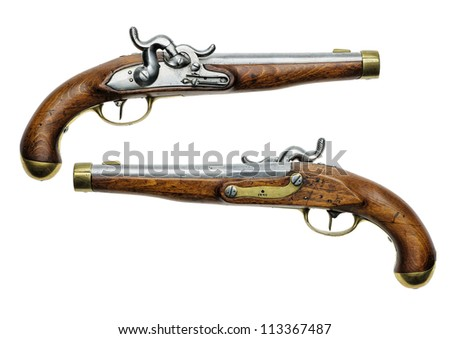 Prussian percussion pistol of 1832 - stock photo