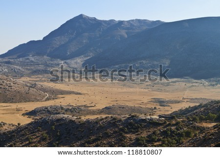 Psiloritis mountain and the Nida plateau at Crete island in Greece - stock photo