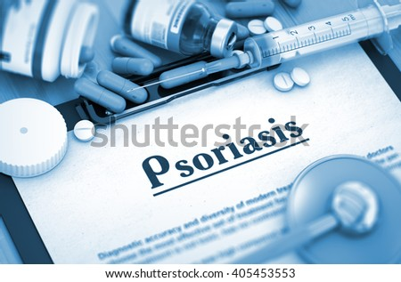 Psoriasis, Medical Concept with Pills, Injections and Syringe. Psoriasis Diagnosis, Medical Concept. Composition of Medicaments. Psoriasis, Medical Concept with Selective Focus. 3D. - stock photo