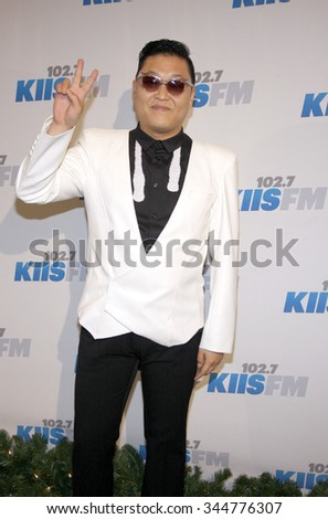 PSY at the KIIS FM's 2012 Jingle Ball held at the Nokia Theatre L.A. Live in Los Angeles, USA on December 3, 2012. - stock photo