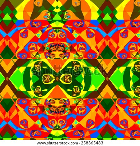 Psychedelic Colorful Fractal Composition. Abstract Decorative Fantasy Background. Digital Red Green Illustration. Ornamental Artistic Shapes Decoration. Creative Colored Artwork. Various Swirls. - stock photo