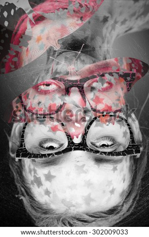 Psychedelic pop art portrait of a woman wearing glasses with stars on the skin. Digital collage - stock photo