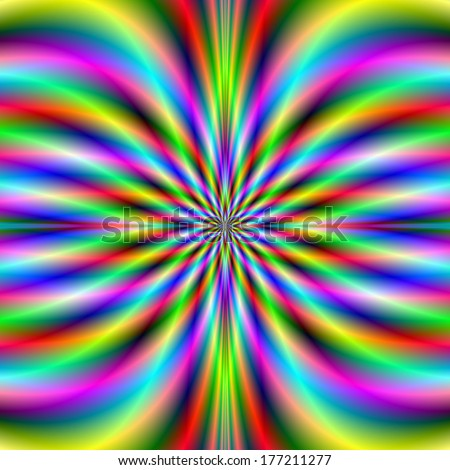 Psychedelic Radiation / Digital abstract fractal image with a psychedelic radiating pattern in blue, green, yellow and pink. - stock photo