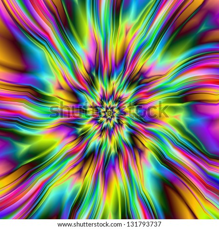 Psychedelic Supernova / Digital abstract fractal image with an explosion of color design in blue, green, pink and yellow. - stock photo