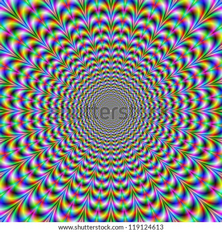 Psychedelic Web/Digital abstract image with a psychedelic circular web pattern of blue red yellow green and pink producing an optical illusion of movement. - stock photo