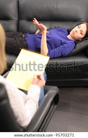 Psychiatrist and woman patient - stock photo