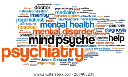 Psychiatry issues and concepts word cloud illustration. Word collage concept. - stock photo
