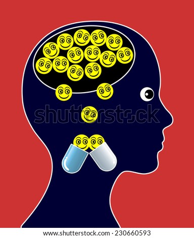 Psychoactive Drugs. Psychiatric medicines impact mood and behavior in the brain - stock photo