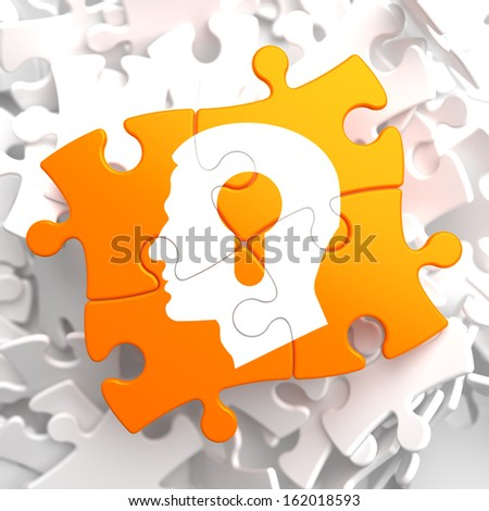 Psychological Concept - Profile of Head with a Keyhole Located on Orange Puzzle. - stock photo