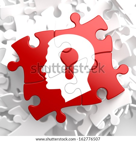 Psychological Concept - Profile of Head with a Keyhole Located on Red Puzzle. - stock photo