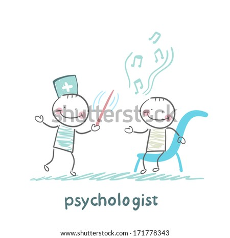 psychologist conducts a patient tells notes - stock photo