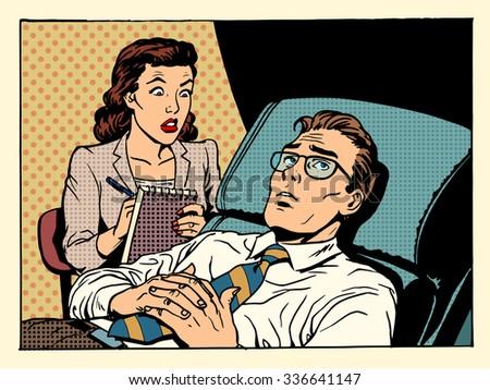 psychologist female patient male sympathy family relationships emotions mental problems pop art retro style - stock photo