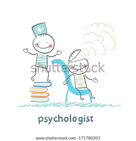 psychologist is on a stack of books and produces steam from the patient's head - stock photo