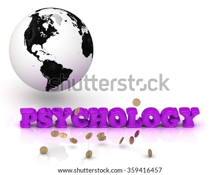 PSYCHOLOGY- bright color letters, black and white Earth on a white background - stock photo