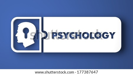 Psychology Concept. White Button on Blue Background in Flat Design Style. - stock photo