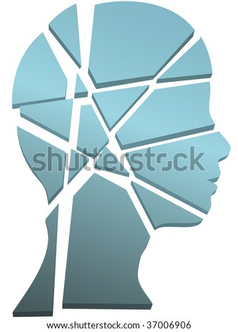Psychology mental health concept - a person's head in profile shattered to pieces. - stock photo