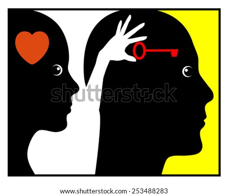 Psychology of Love. Concept sign of a woman who is inspiring and motivating a man   - stock photo