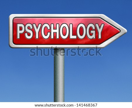 psychology psycho therapy for mental health against depression trauma, phobia schizophrenia road sign arrow - stock photo