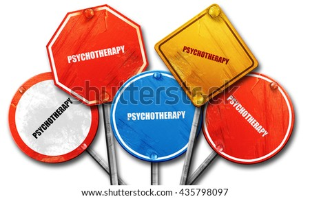 psychotherapy, 3D rendering, rough street sign collection - stock photo
