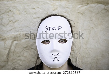 Psychotic with gothic mask, horror and mystery - stock photo