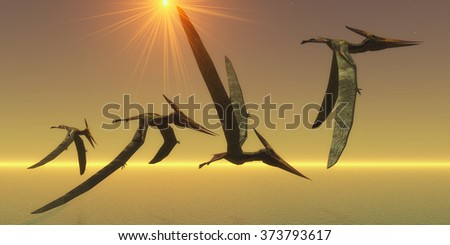 Pteranodon Reptile Flight - Pteranodons are flying reptiles that lived in the Cretaceous Period of North America in Earth's history. - stock photo