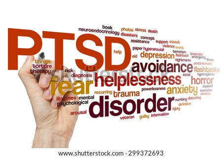 PTSD concept word cloud background - stock photo