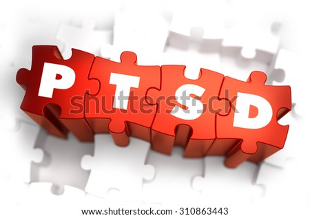 PTSD - Post Traumatic Stress Disorder - White Word on Red Puzzles on White Background. 3D Render.  - stock photo