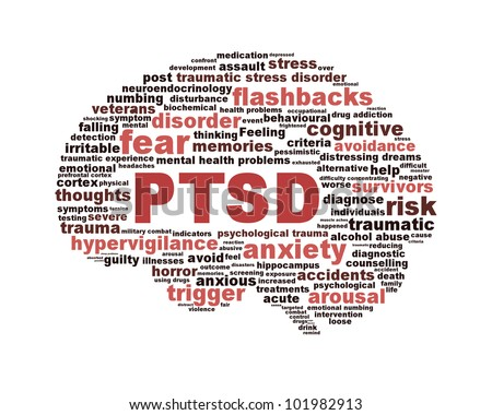 PTSD symbol with a brain outline isolated on white background. Anxiety disorder symbol conceptual design - stock photo