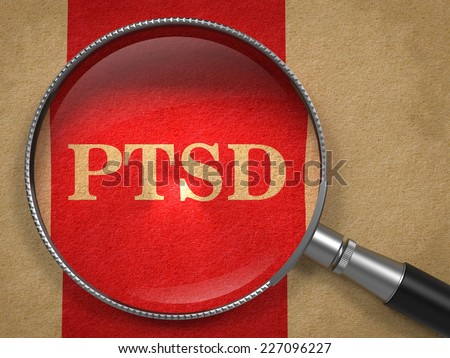 PTSD through Magnifying Glass on Old Paper with Red Vertical Line. - stock photo
