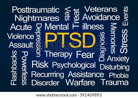 PTSD Word Cloud on Blue Background - stock photo