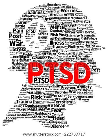 PTSD word cloud shape concept - stock photo
