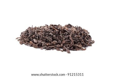 Pu-erh chinese tea isolated on white - stock photo