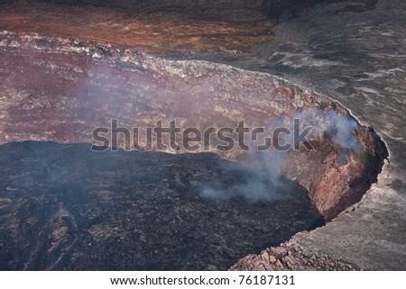 Pu'u 'O'o Vent in Hawaii Volcanoes National Park - stock photo