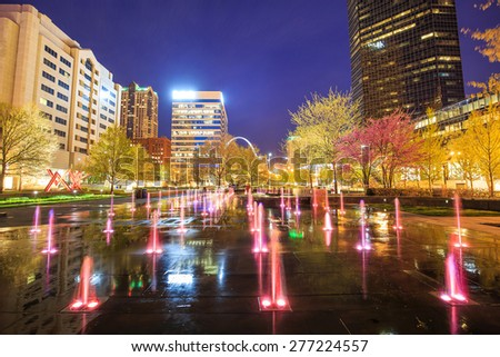 Public  Citygarden in downtown st. louis at twilight - stock photo