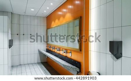 Public empty restroom with washstands mirror - stock photo