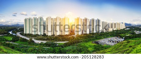 Public Estate in Hong Kong at day - stock photo