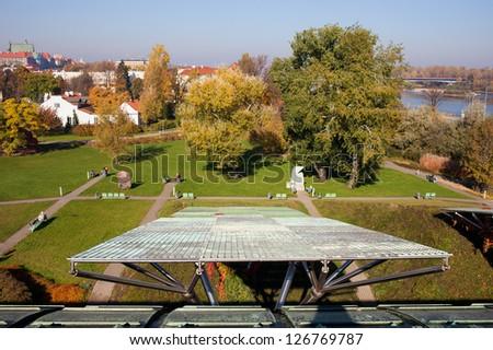Public garden of Warsaw University Library in Poland. - stock photo