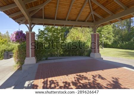 Public gazebo in a park Fairlawn Village Oregon. - stock photo
