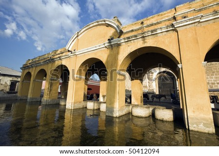 Public Loundry Building in Antigua, Guatemala. - stock photo