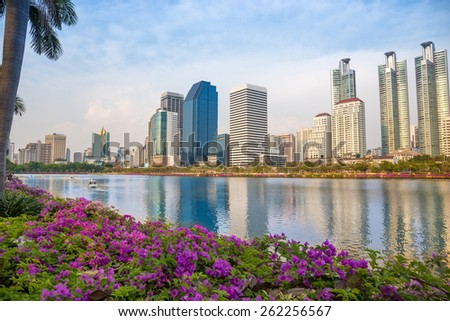Public Park in city center with river and nature at Bangkok Thailand - stock photo