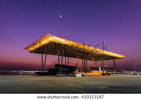 Public park with night sky background; Sky view in the public park. - stock photo